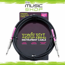 Ernie Ball 10ft Black Instrument Cable with Straight Ends - 6048 Guitar Lead