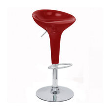 ADJUSTABLE BOMBO STYLE BAR STOOL - SCOOP BARSTOOL - COUNTER CHAIR-RED-SET OF 4
