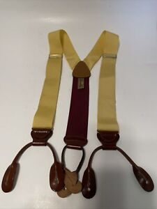 TRAFALGAR Suspenders Yellow Woven Brown Leather Adjustable Brace Button Y Style