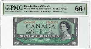 CANADA 1 Dollar 1954, BC-37b Modified, PMG 66 EPQ Gem UNC, Beattie Rasminsky