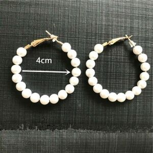 Round Pearl Gold Statement Earrings Womens Hoop Wedding Party Gift Fashion