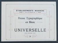 Catalogue PRESSE MARINONI UNIVERSELLE édition printer imprimerie typographie