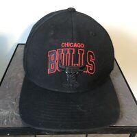 Mitchell & Ness Chicago Bulls Snapback Hat Baseball Cap Black Red Logo NBA