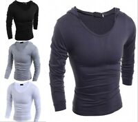 New Fashion Men's Casual Slim Fit T-Shirt Hooded Long Sleeve Tee Shirts 4 color