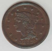 1852 Coronet Head Large Cent Sharp Details