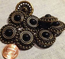 "8 Large Antiqued Brass Tone Metal Shank Buttons Black Cabochon 1"" 26mm # 7965"