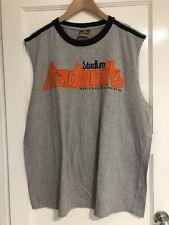 """Akademiks Mens Grey Sleeveless T-shirt Orange Logo Size Large 50"""" Chest"""