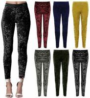 Womens Velour Velvet Crushed Full Length Legging Ladies Elasticated Waist Pants