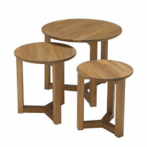 LPD Stow Nest of 3 Tables, Circular Side Tables - Solid Oak-Free Delivery
