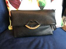 Lulu Guinness Issy Grainy Leather Black Clutch Bag New