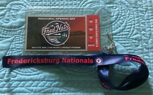 Fredericksburg Nationals Inaugural Opening Day Replica Ticket & Lanyard 5/11/21