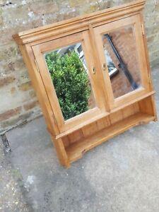 "Large Vintage Pine 2 Door Mirrored Bathroom Wall Shelf Cabinet - 25.5"" x 28.5"""