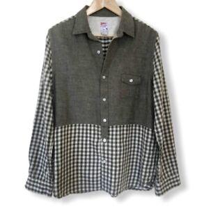 Men's PRPS Tunic Shirt Green Check Size Medium M Cotton Linen China Casual