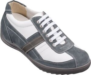 TOTO A6635 - 2.8 Inches Elevator Height Increase White & Grey Casual Sneakers