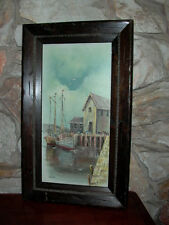 Framed Oil on Canvas Seascape Boat Painting Signed Luini