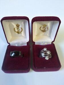 2-Vintage Premier Designs PD Ring Size 7.5 Signed Silver Tone w/ Case