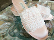 NOS Vtg Christian Dior Pink LACE Satin SLIPPERS Wedge MULES sz 6.5-7.5 M UNWORN