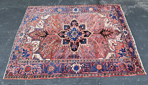 Vintage Heriz Serapi Hand Knotted Genuine Area Rug Blue Red 7.5' by 10'