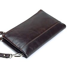 Men Long Purse Wallet Leather Double Zipper Clutch Multi-Function Organizer