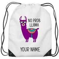 Personalised No Prob Llama Gym Bag PE Dance Sports School Swim Bag Waterproof