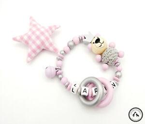 ♥ Greifling/Greifring mit Namen ★ Häkelteddy/Krone in rosa/silber ★