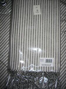 IB Laursen Tischdecke Tischtuch Fransen creme mit schwarzen Streifen 110x170