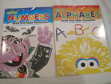 $~Lot of 2~Sesame Street Write-on/Wipe-Off Work Books~Alphabet Numbers~New~LBDEE