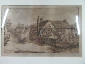 """1883 Edward Slocombe Engraving ~ Milton's Cottage Chalfont St Giles 31"""" x 24"""""""