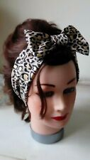 HEAD HAIR BAND leopard print stretch cream gold black bow active new