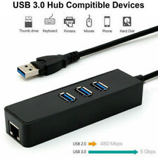 3-Ports Usb 3.0 Gigabit Ethernet Lan Rj45 Network Adapter Hub to 1000Mbps Pc Mac