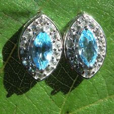 Stud Earrings Sky Blue Topaz 925 Sterling Silver Accent White Topaz 14 x 9.6mm