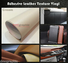 20x152cm Cream Leather Texture Adhesive Vinyl Wrap Sticker For Vehicle Furniture
