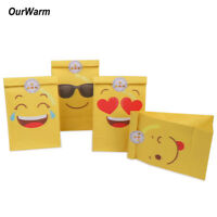 12pcs Emoji Paper Bags Party Gift Treat Bag Cartoon Kids Birthday Party Decor