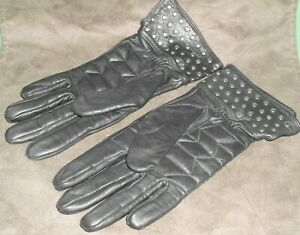 Women's Black Harley Davidson Genuine Leather Riding Gloves Size Small Vintage