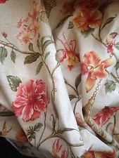 5 m Vintage Designer Thibaut Kauai  Curtain Fabric Linen Birds Floral  Design