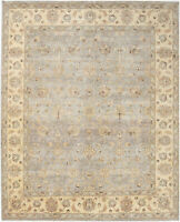 8X10 Hand-Knotted Oushak Carpet Traditional Grey Fine Wool Area Rug D54259