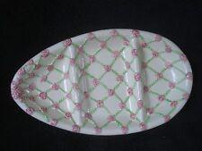 Oxford Products Ceramic Divided Egg Platter Pink Roses NWOT