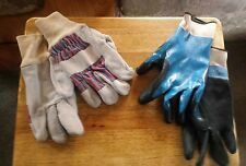 TWO (2) Pair of Industrial Gloves for Working or gardening 1 Leather & 1 Rubber