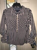 Tommy Hilfiger Large Blue White Plaid Roll Tab Sleeves LS 3/4 Zip Blouse Womens
