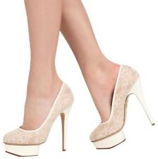 $890 NEW Charlotte Olympia Cream Ivory Silk Lace Polly Platform Pumps SZ 40 10 9