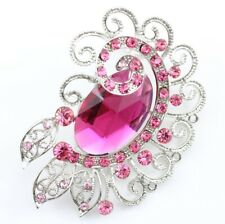Attractive Bridal Wedding Brooch Pin Pink Fine Austrian Rhinestone Crystal