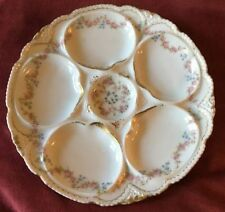 Vintage Haviland Limoges France Floral Oyster Plate With Gold Trim 8 1/2""