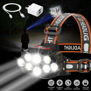 650000LM 8LED T6 Headlamp Headlight Torch Rechargeable Flashlight Work Light