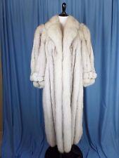 Vintage 70s Genuine Blue Fox Full Length Fur Coat Timeless Glamour Silvery Gray