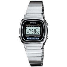 Casio Ladies Digital Stainless Steel  Date Alarm Stop Watch, Silver Black