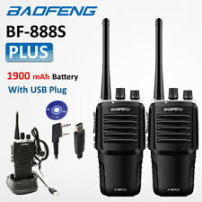 2x Upgraded BaoFeng BF-888S Plus UHF FM Two Way Walkie Talkie Radio + USB Cable