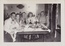 Old Vintage Antique Photograph Family Around Dinner Table Retro Dining Room