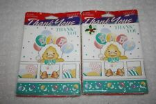 Paper Art 8 Thank you notes Cards Baby Shower Duck pack of 2
