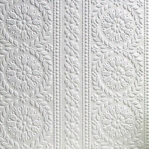 Textured Vinyl Embossed Paintable Flower Wallpaper Luxury Townsend Anaglypta