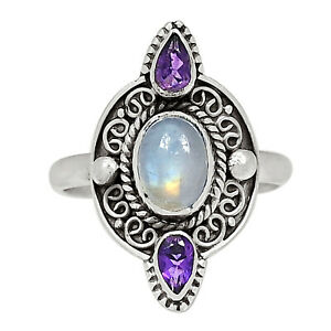 Moonstone & Amethyst 925 Sterling Silver Ring Jewelry s.9 ALLR-2557